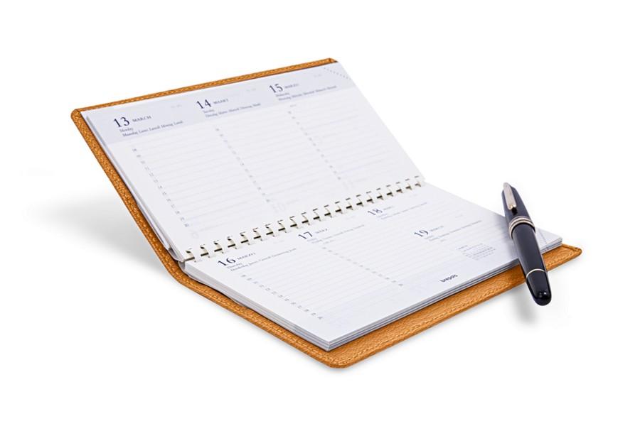 Agenda de poche (10 x 17 cm) - Jaune Safran - Cuir de Chèvre