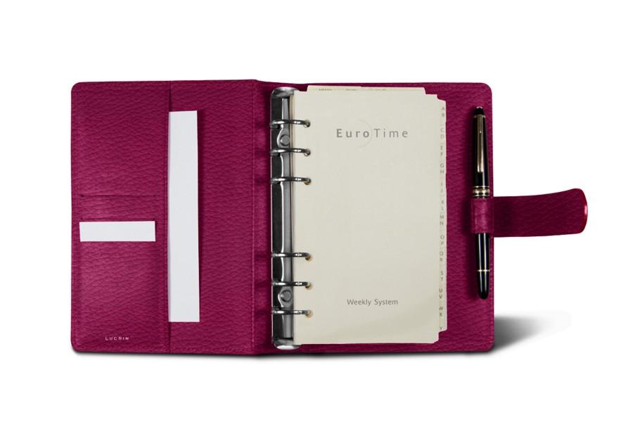 Medium organizer (5.5 x 7.7 inches) - Fuchsia  - Granulated Leather