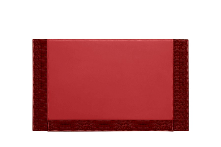 Desk pad blotter - 2 pen stands (53.5 x 32 cm) - Red - Crocodile style calfskin