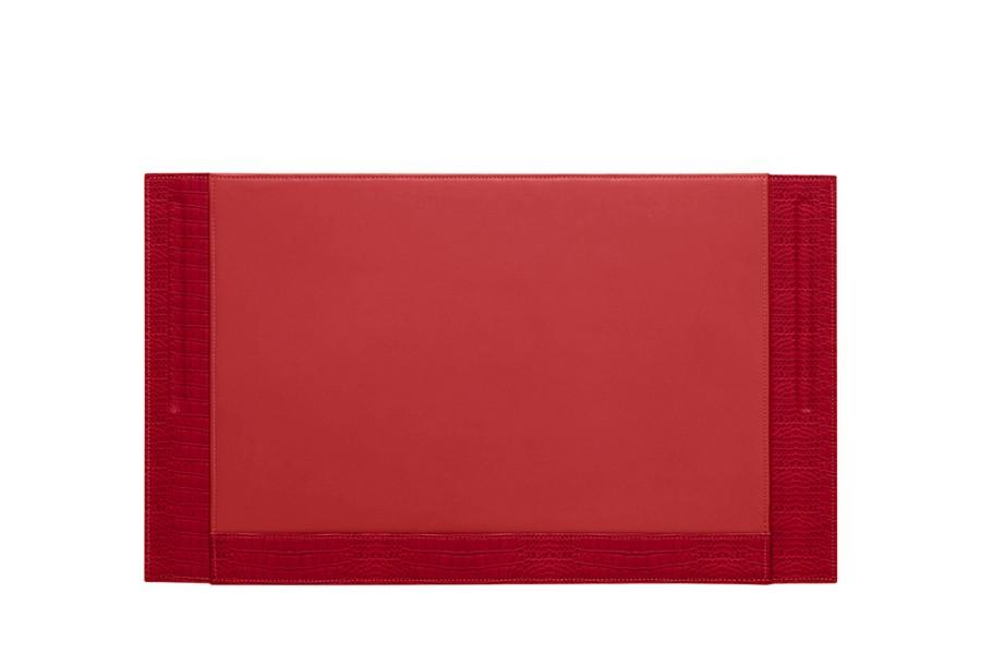 Sous-main 2 stylos (53.5 x 32 cm) - Rouge - Veau Façon Crocodile