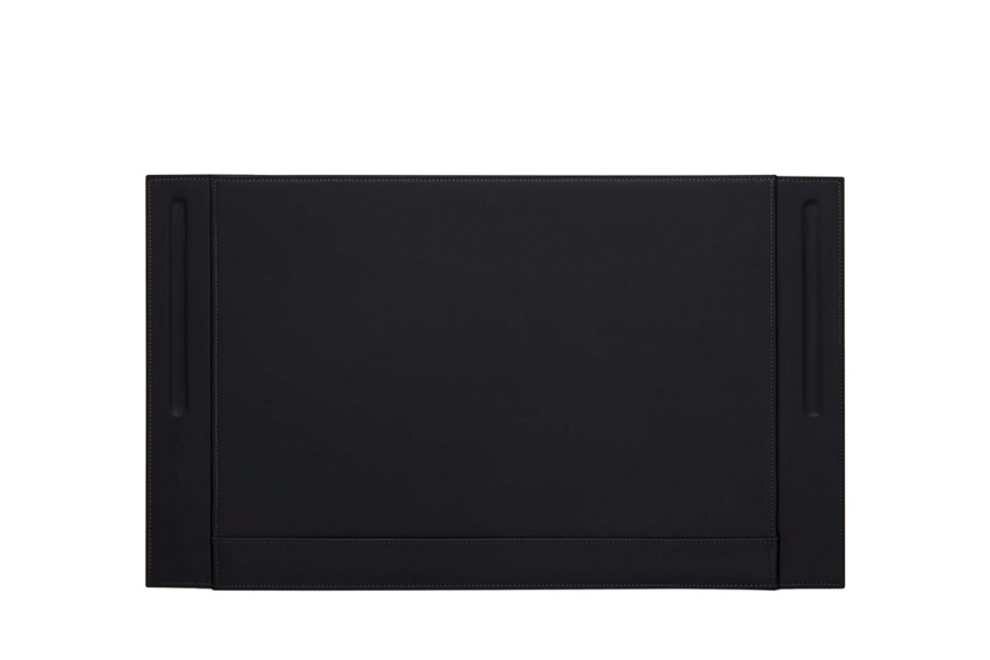 Desk Pad Blotter With Pen Stands Black Smooth Leather White
