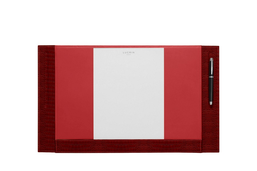 "Desk pad blotter - 2 pen stands (21.1"" x 12.6"") - Red - Crocodile style calfskin"
