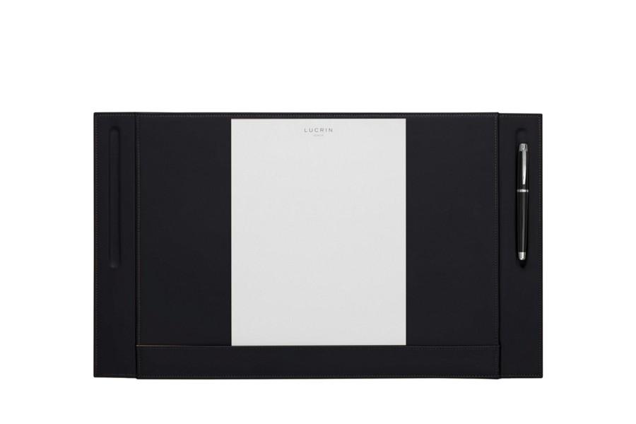 leder schreibtischunterlage mit zwei stifthalterungen schwarz glattleder. Black Bedroom Furniture Sets. Home Design Ideas