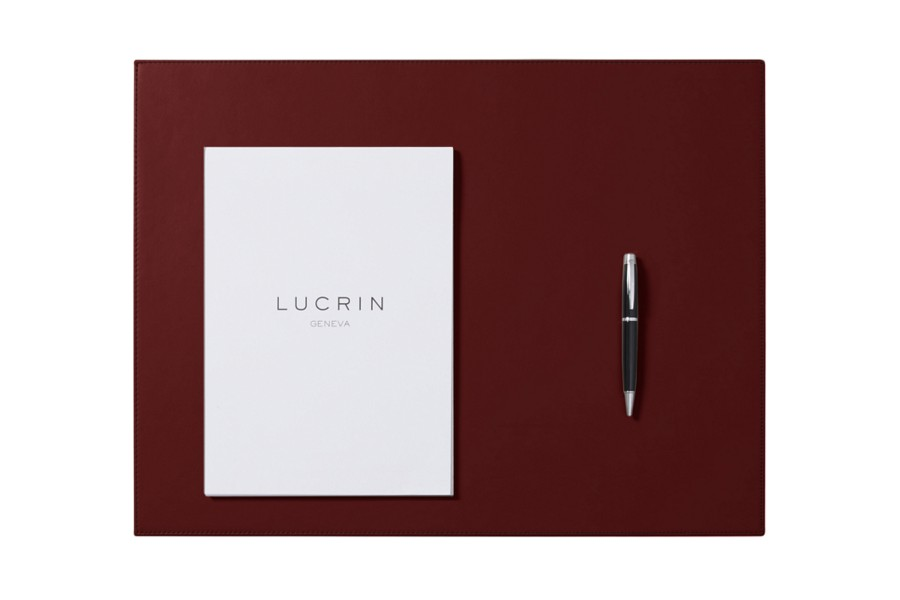 Sous main rigide 60 x 40 cm bordeaux cuir lisse for Bureau 40 cm de large