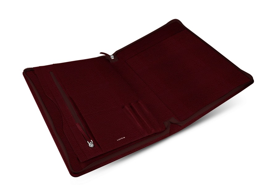 Porte documents de bureau a4 en cuir bordeaux cuir grain - Porte document de bureau ...