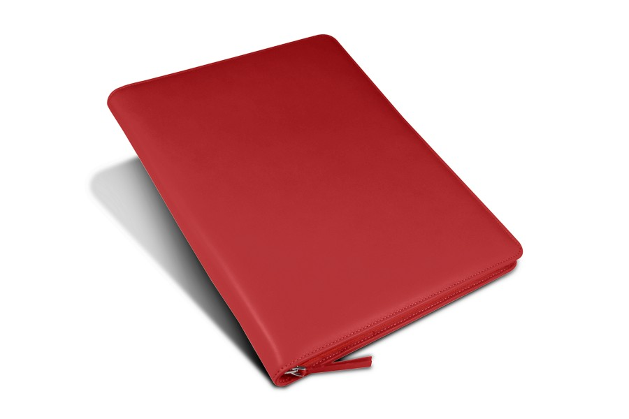 Porte documents de bureau a4 en cuir rouge cuir lisse - Porte document de bureau ...