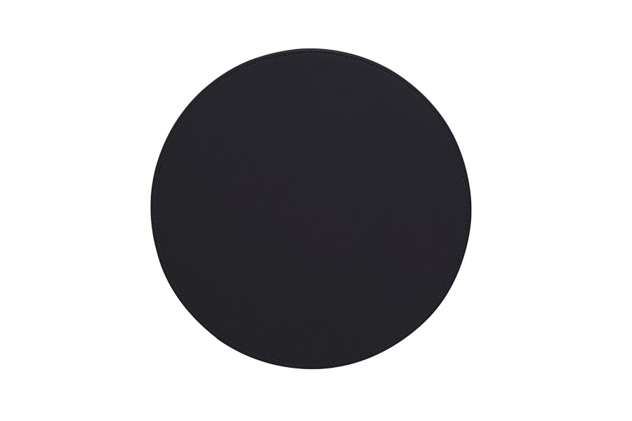 round leather mouse pad - black