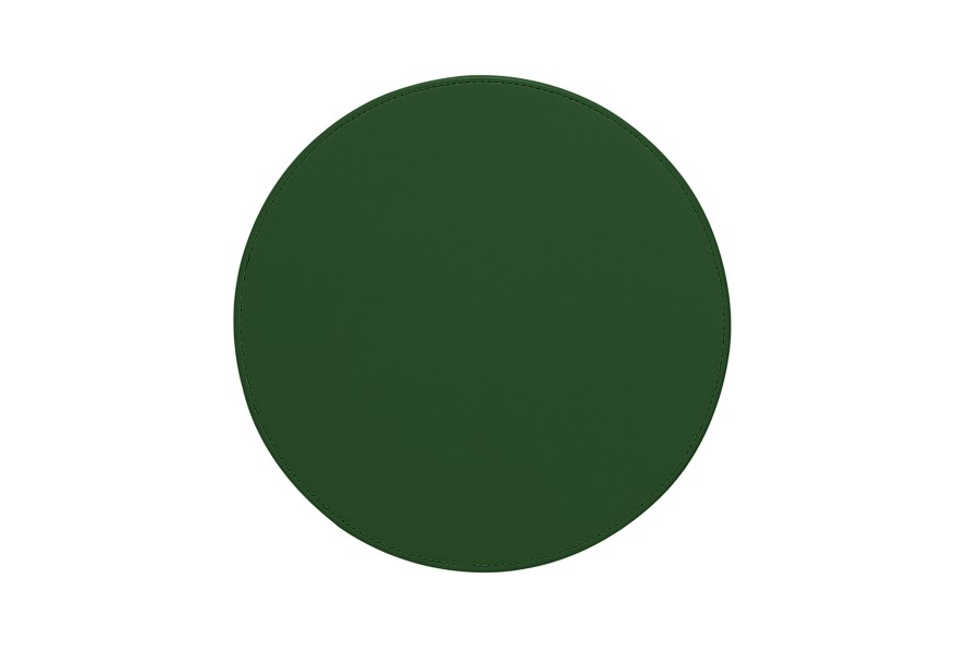tapis de souris rond vert cuir lisse