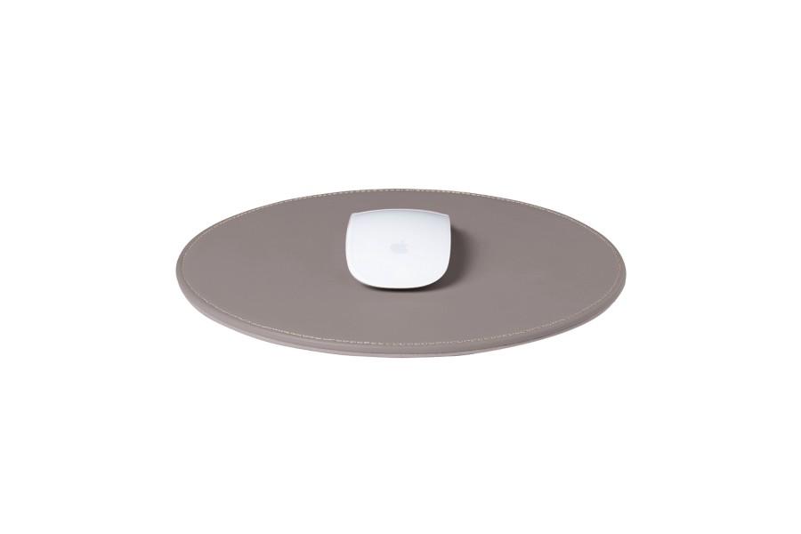 Tapis de souris rond taupe clair cuir lisse bureau Tapis taupe clair