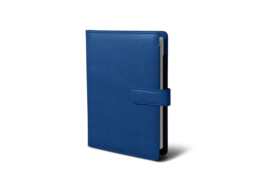 A5 portfolio with strap - Royal Blue - Granulated Leather