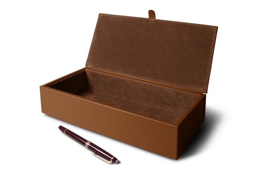 bo te de rangement rectangulaire cognac cuir lisse bo tes de rangement bureau. Black Bedroom Furniture Sets. Home Design Ideas