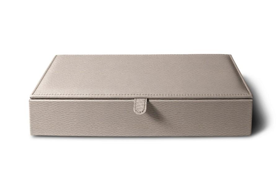 bo te de rangement rectangulaire taupe clair cuir grain bo tes de rangement bureau. Black Bedroom Furniture Sets. Home Design Ideas