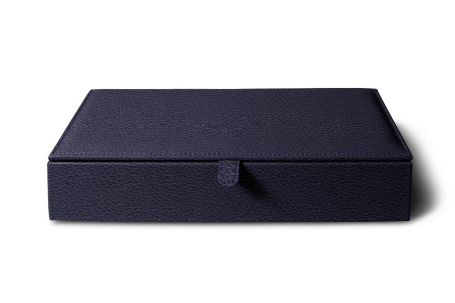 bo te de rangement rectangulaire violet cuir grain bo tes de rangement bureau. Black Bedroom Furniture Sets. Home Design Ideas