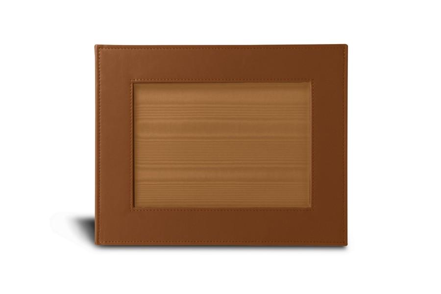 petit cadre photo 24 x 19 cm cognac cuir lisse albums cadres photos bureau. Black Bedroom Furniture Sets. Home Design Ideas
