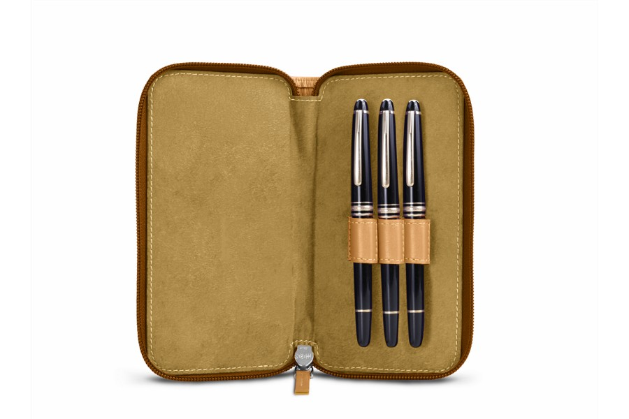 Zipped case for 3 pens