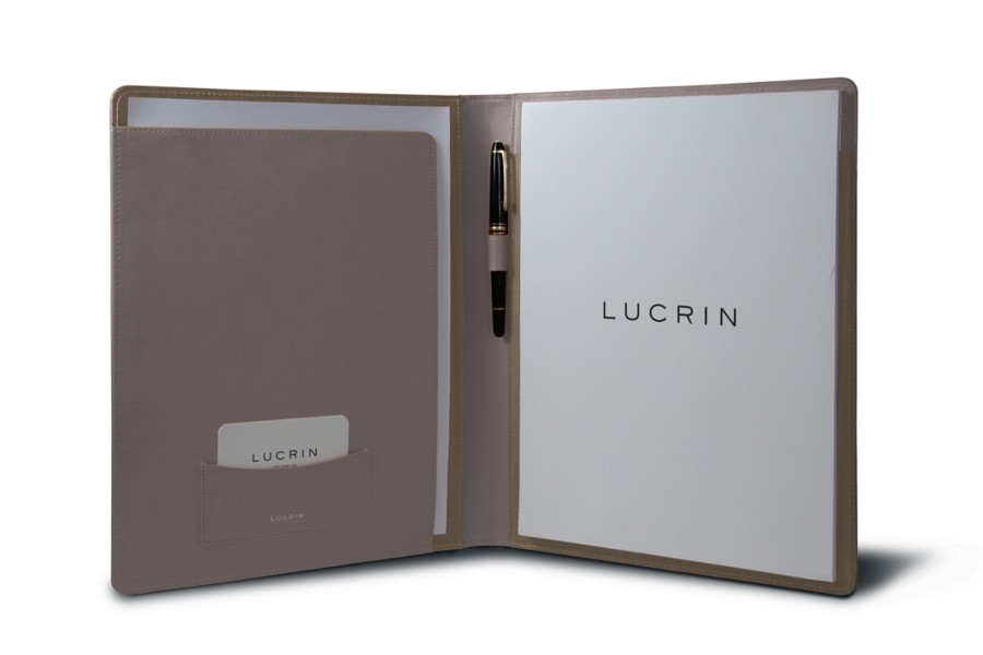 A4 Business portfolio - Light Taupe - Smooth Leather