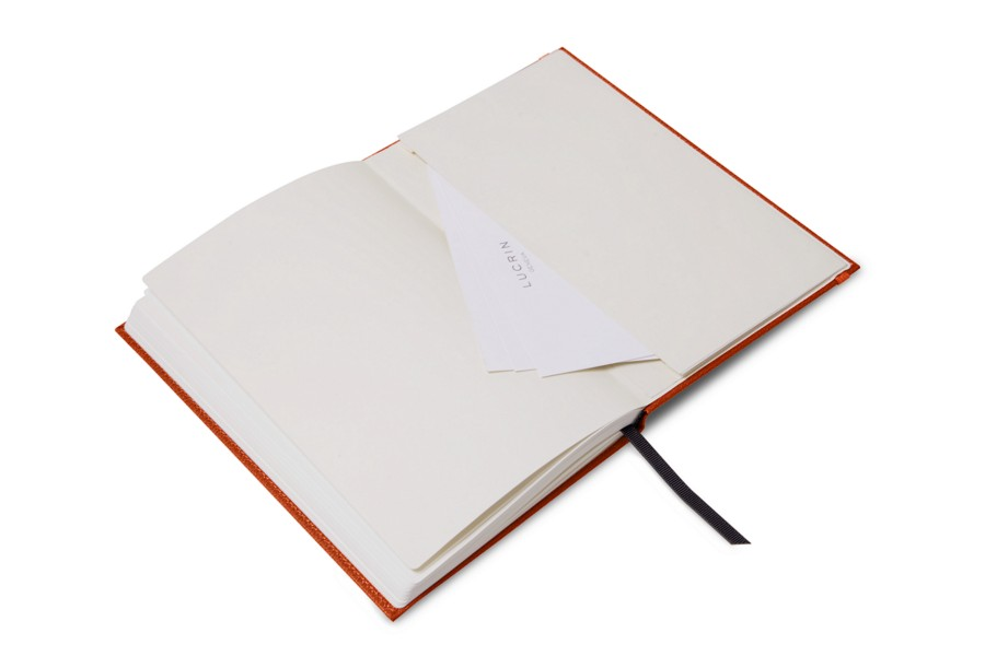 Notebook - A5 format - Orange - Goat Leather
