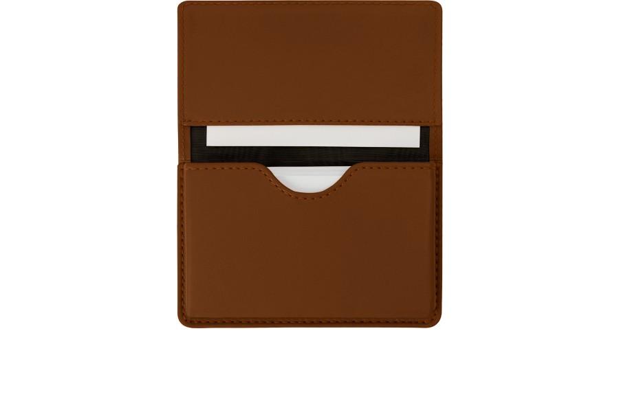 Cartera para tarjetas de empresa con solapa - Coñac  - Piel Liso
