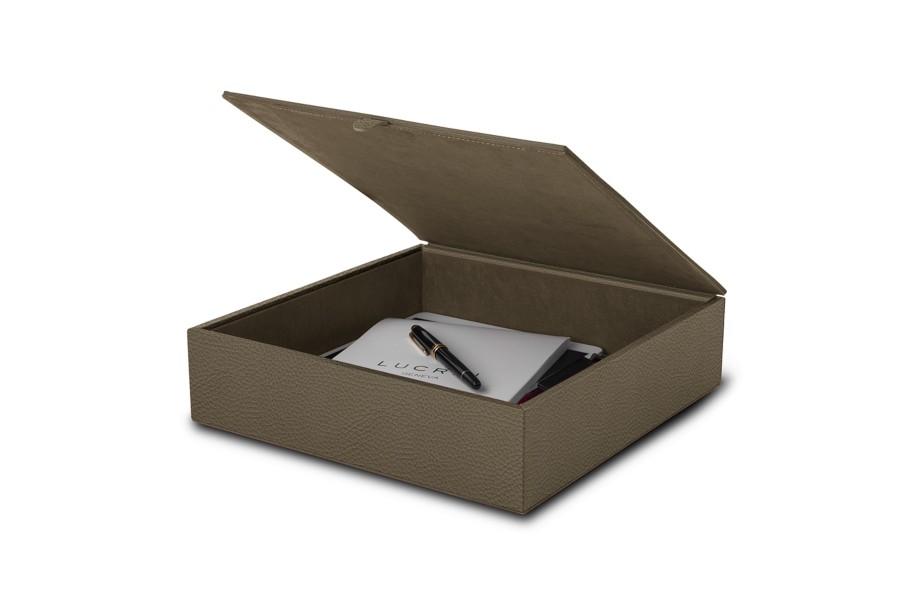 Scatola portaoggetti grande in pelle 27 x 27 x 7 cm - Scatole portaoggetti ...
