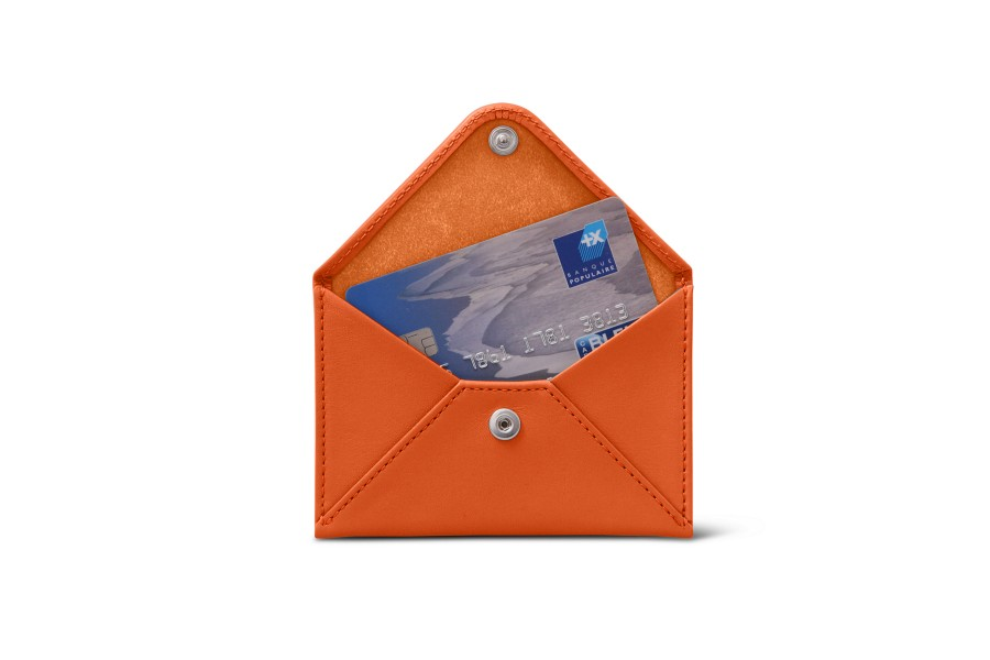 Flat card holder - Orange - Smooth Leather