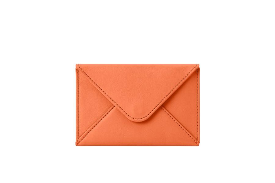 Kreditkartentasche - Orange - Glattleder