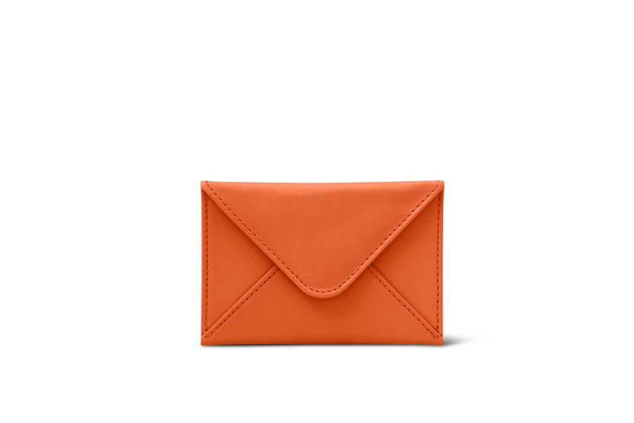 Flat card holder - Orange - Smooth Leather