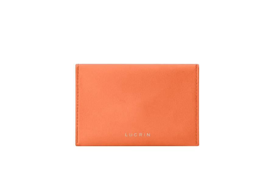 Pochette plate pour cartes - Orange - Cuir Lisse