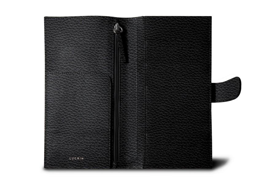Reisebrieftasche für fünf Kreditkarten - Schwarz - Leder genarbt