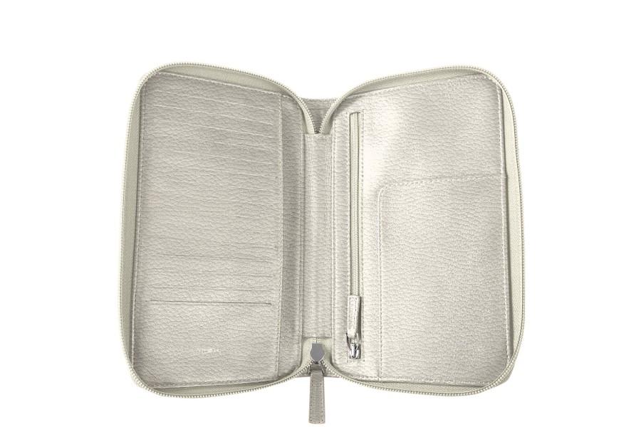 portefeuille voyage zipp en cuir blanc cass cuir grain. Black Bedroom Furniture Sets. Home Design Ideas