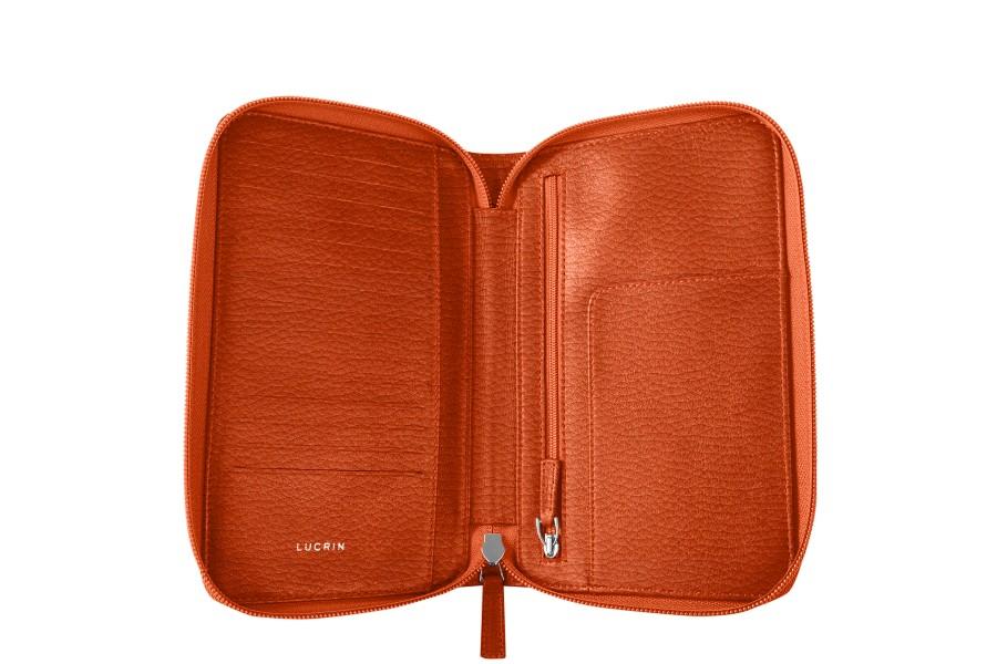 portefeuille voyage zipp en cuir orange cuir grain. Black Bedroom Furniture Sets. Home Design Ideas