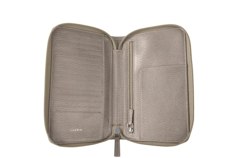 portefeuille voyage zipp en cuir taupe clair cuir grain. Black Bedroom Furniture Sets. Home Design Ideas