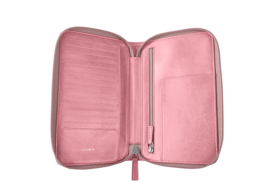 portefeuille voyage zipp en cuir rose cuir lisse. Black Bedroom Furniture Sets. Home Design Ideas