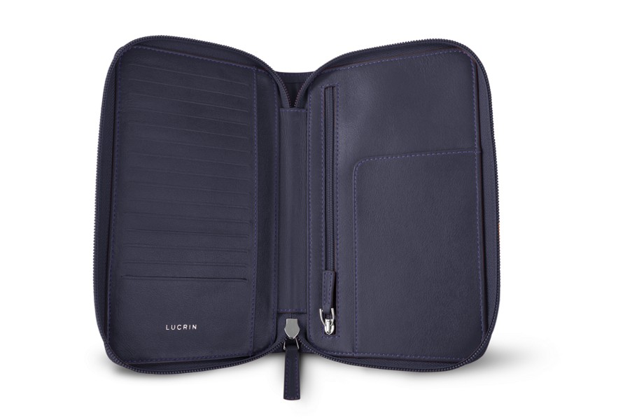 portefeuille voyage zipp en cuir violet cuir lisse. Black Bedroom Furniture Sets. Home Design Ideas