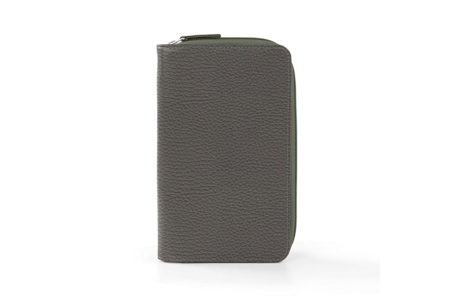 portefeuille voyage zipp en cuir gris souris cuir grain. Black Bedroom Furniture Sets. Home Design Ideas