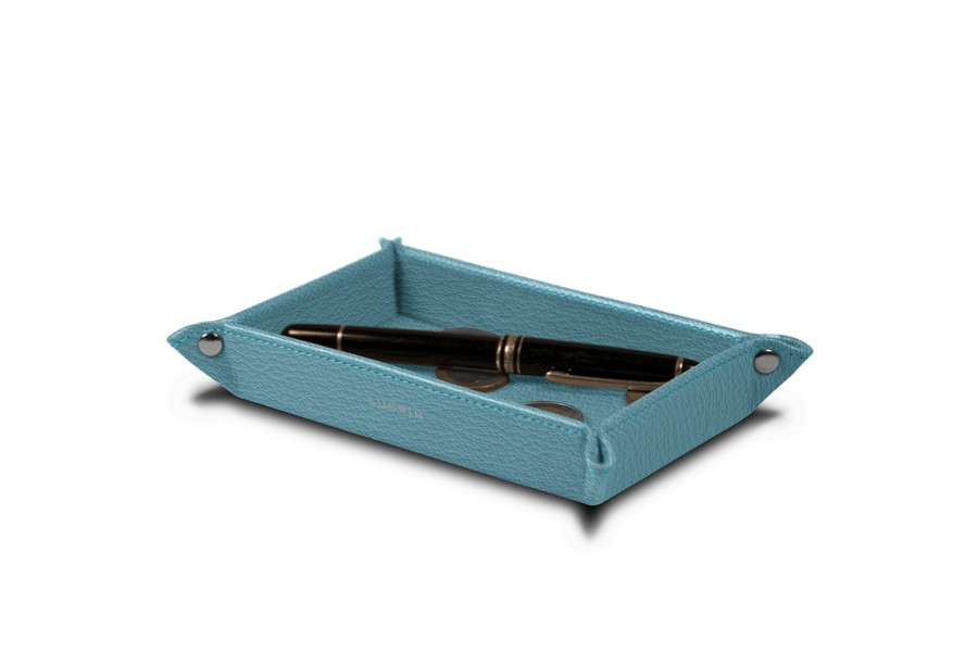 petit vide poche original en cuir 17 x 11 cm bleu ciel cuir de ch vre. Black Bedroom Furniture Sets. Home Design Ideas