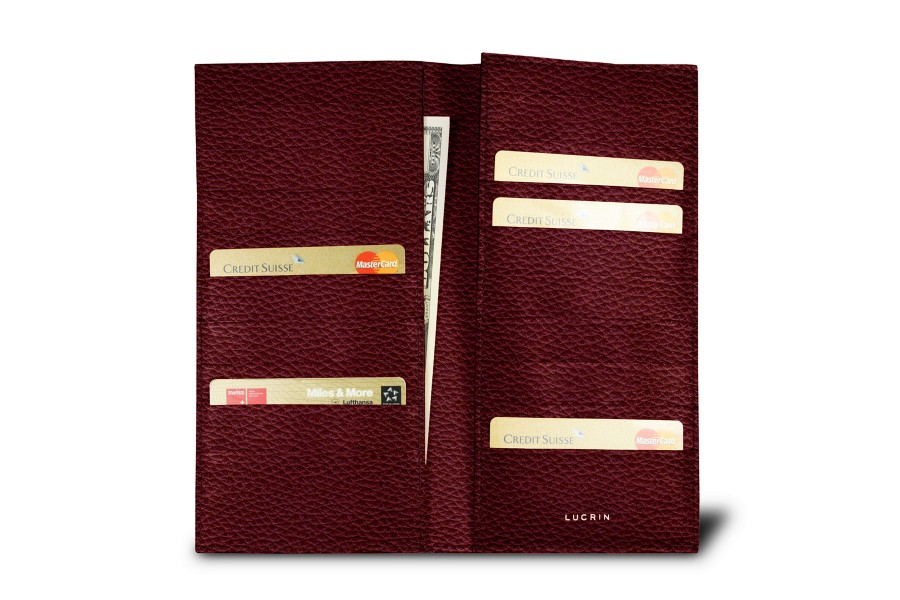 Porte 18 cartes bordeaux cuir grain compagnons de for Porte 15 bordeaux