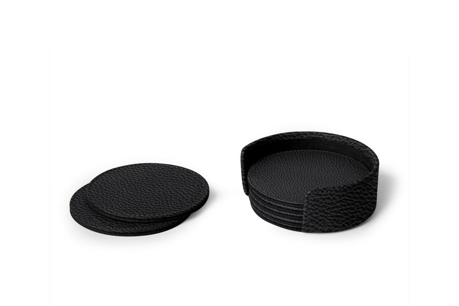 set de 6 sous verres ronds noir cuir grain sous. Black Bedroom Furniture Sets. Home Design Ideas