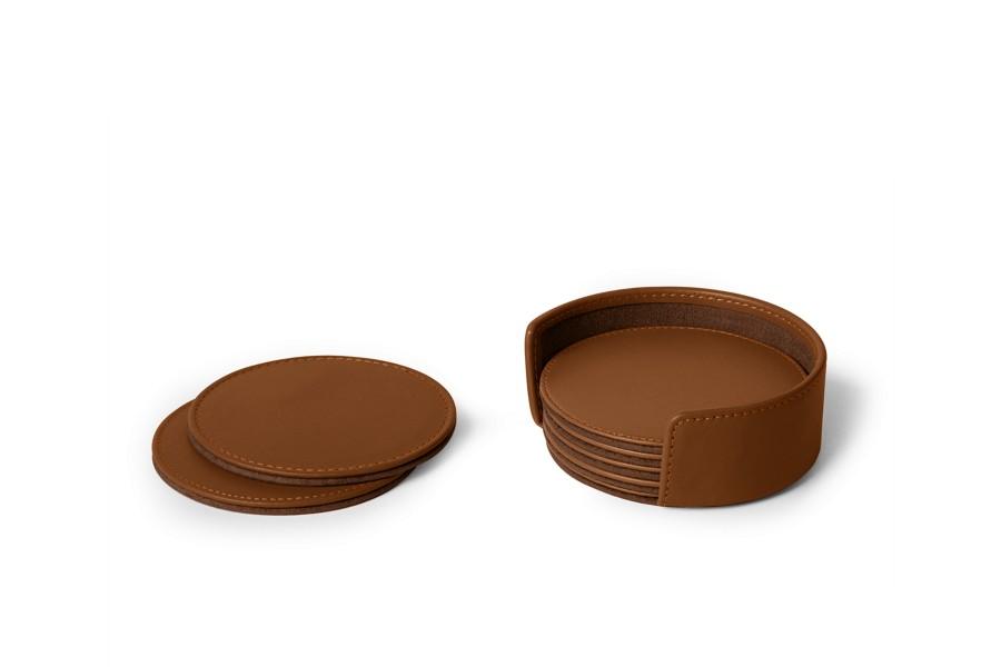 set de 6 sous verres ronds cognac cuir lisse bureau. Black Bedroom Furniture Sets. Home Design Ideas