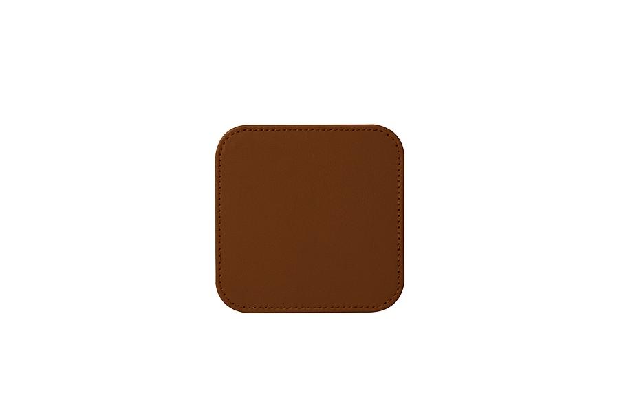 set de 6 sous verres carr s cognac cuir lisse bureau. Black Bedroom Furniture Sets. Home Design Ideas