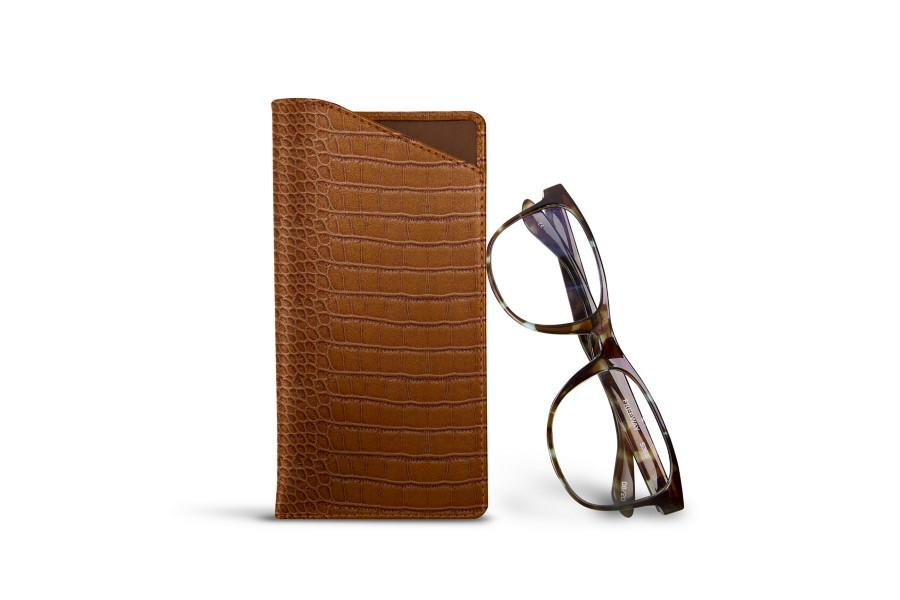 Housse pour lunettes standards - Camel - Veau Façon Crocodile