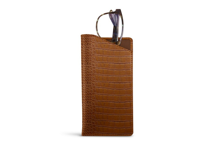 Case for standard size glasses - Camel - Crocodile style calfskin