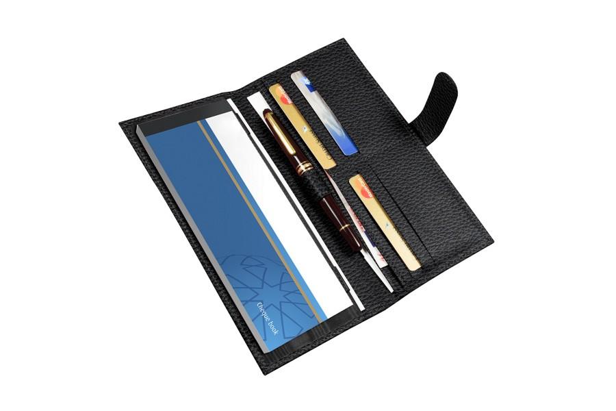 Porta in pelle libretto di assegni e carte di credito - Porta a libretto ...