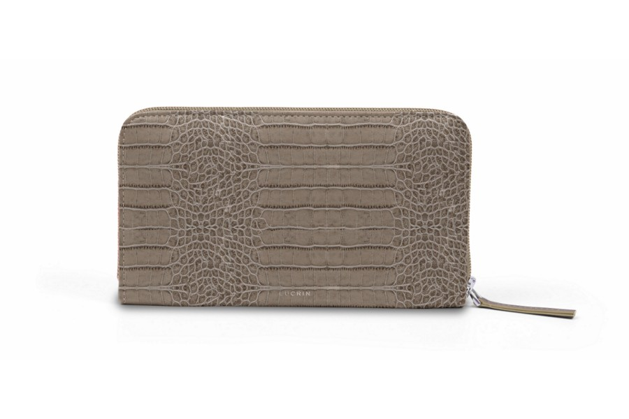 Zip around wallet - Light Taupe - Crocodile style calfskin
