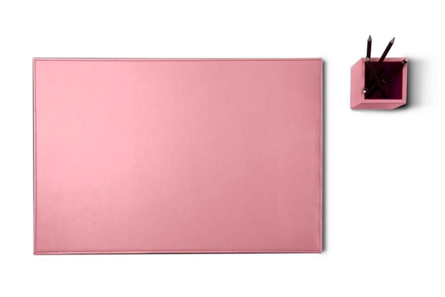parure de bureau en cuir silver edition rose cuir lisse. Black Bedroom Furniture Sets. Home Design Ideas