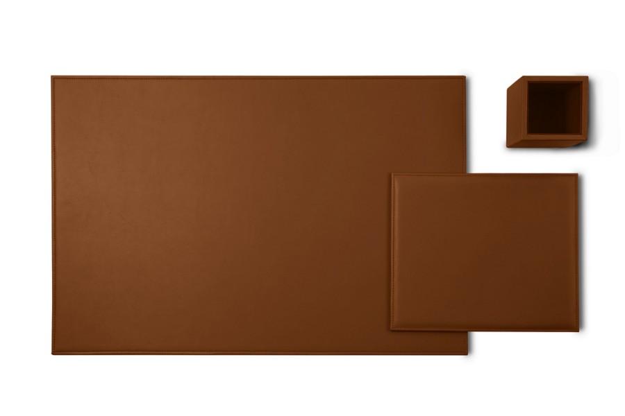 parure de bureau gold edition cognac cuir lisse. Black Bedroom Furniture Sets. Home Design Ideas
