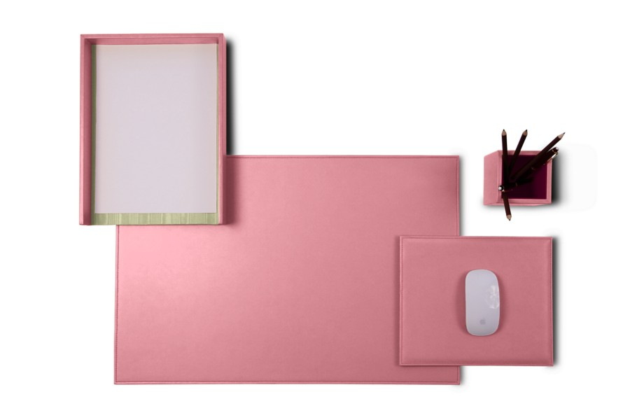 parure de bureau platinum edition rose cuir lisse bureau. Black Bedroom Furniture Sets. Home Design Ideas