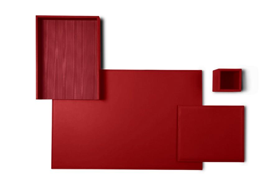 parure de bureau platinum edition rouge cuir lisse bureau. Black Bedroom Furniture Sets. Home Design Ideas