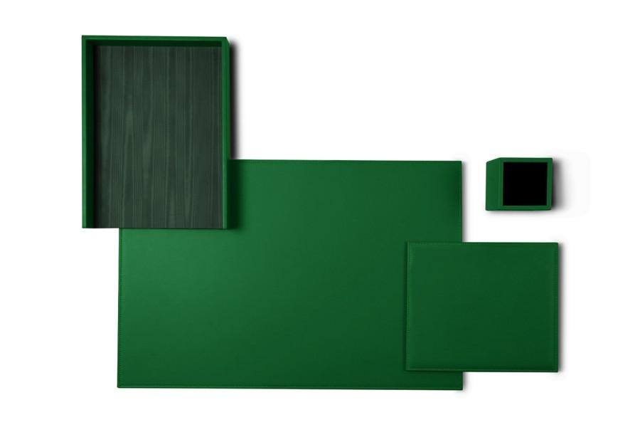 parure de bureau platinum edition vert cuir lisse bureau. Black Bedroom Furniture Sets. Home Design Ideas