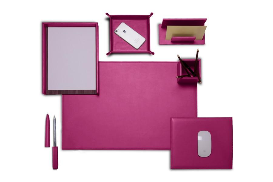 set de bureau pr sidentiel en cuir fuchsia cuir lisse. Black Bedroom Furniture Sets. Home Design Ideas