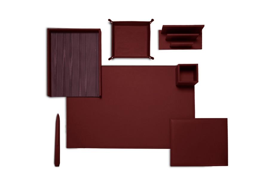set de bureau pr sidentiel bordeaux cuir lisse bureau. Black Bedroom Furniture Sets. Home Design Ideas